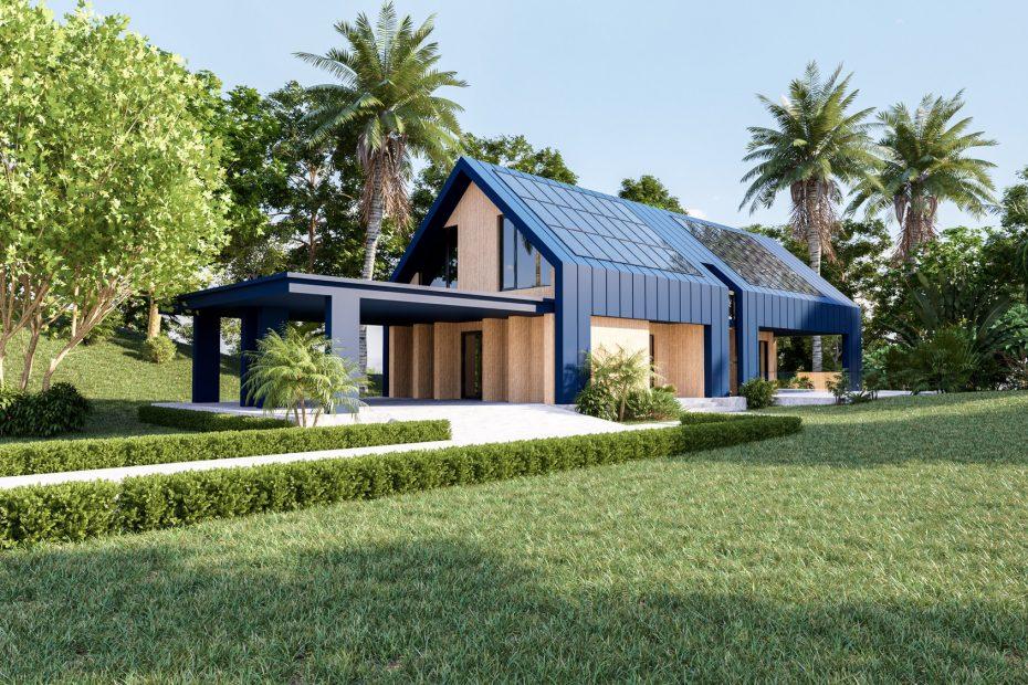 Panneaux solaires photovoltaique sur maison moderne